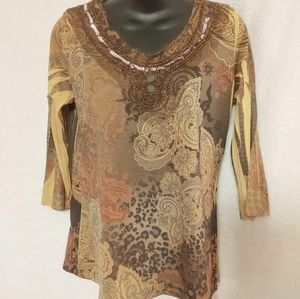 Only 9  Brown Shirt Petite Large
